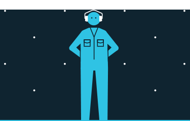 A drawing of a factory worker wearing an industrial uniform and safety headphones